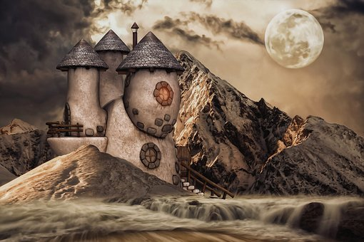House, Fantasy, Landscape, Home