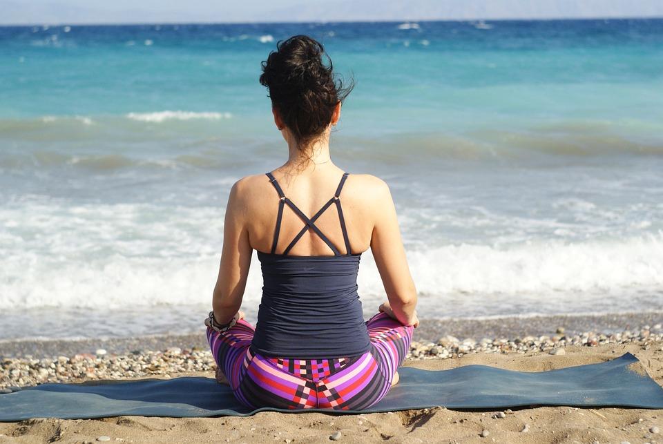 Vrouw, Yoga, Strand, Oever, Kust, Ontspanning