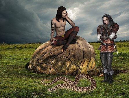 Fantasy, Man, Snake, Grass, Stone