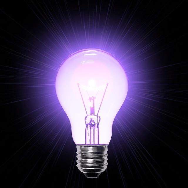Illustration gratuite lampe lumière mauve ampoule idée