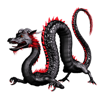 Dragon Negro Rojo China Asia 3D Plantean P