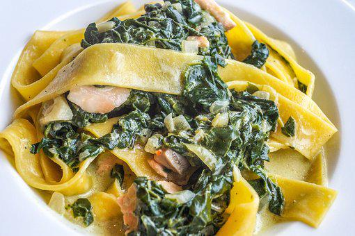 Tagliatelle, Spinach, Salmon, Fish