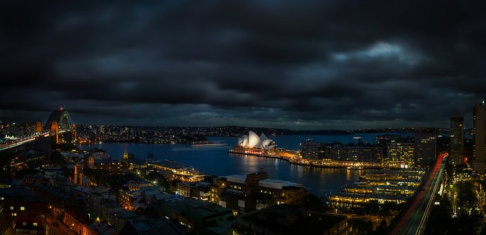 Sydney, Australia, Panorama, Night