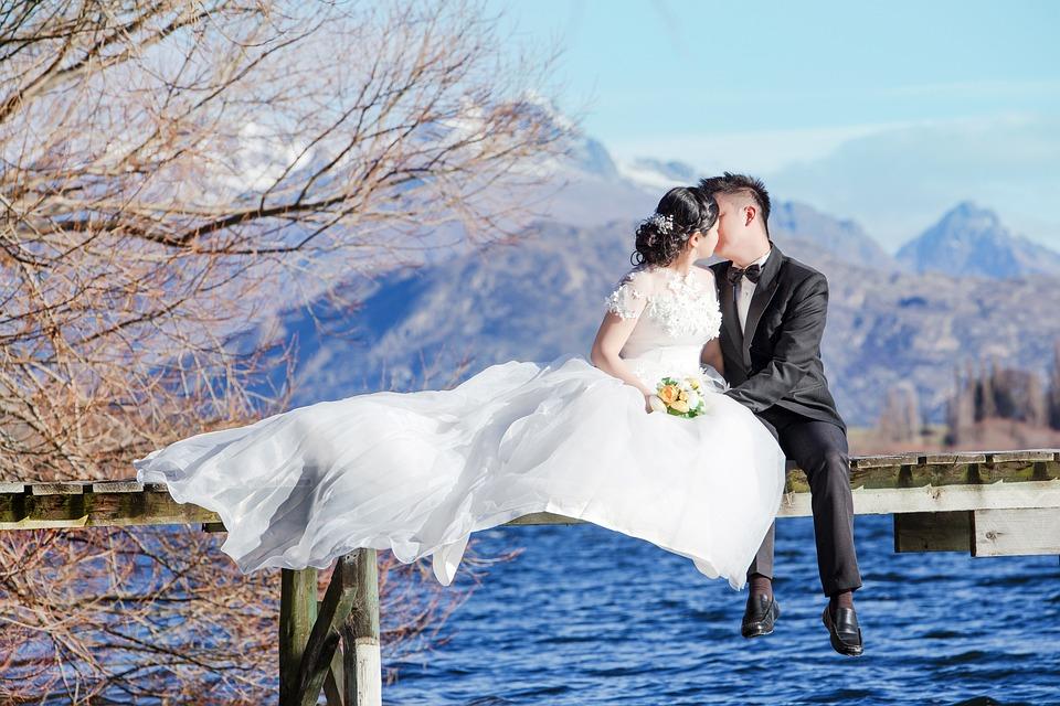愛, ニュージーランド, 南, クィーンズタウン, 湖, 結婚前の, 新婚, Jsmarriage, 結婚式