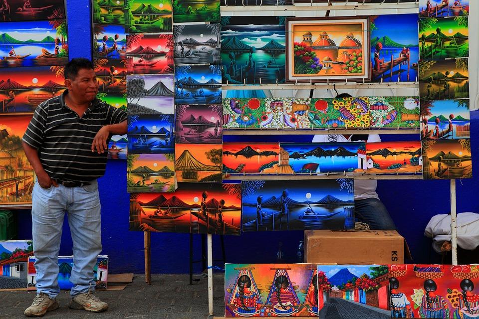 Gwatemala, Ameryka Łacińska, Rynek, Malarstwo, Aukcja