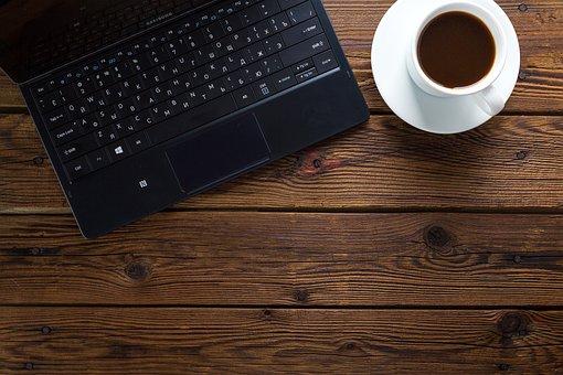ノート, コーヒー, テーブル, 仕事, オフィス, コンピューター
