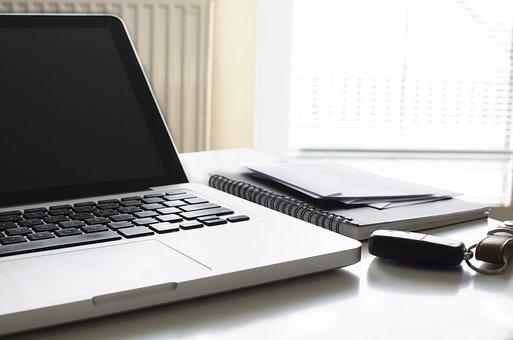 忙しい, ホーム, デスク, 紙, ラップトップ, ビュー, コンピュータ, 上