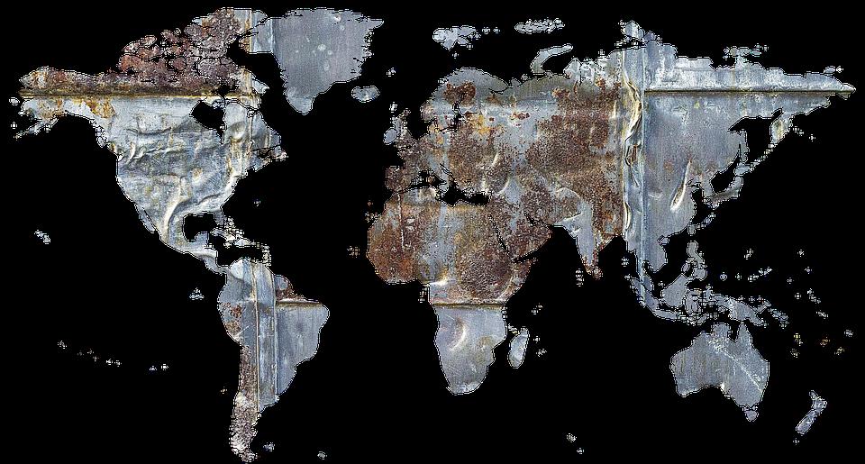 Metal, Ferrugem, Antigos, Fachada, Mapa Do Mundo, Terra
