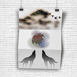 poster, clouds, planet