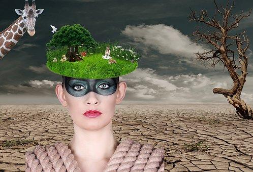 Woman, Desert, Tree Thoughtless