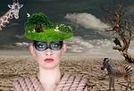 woman, desert
