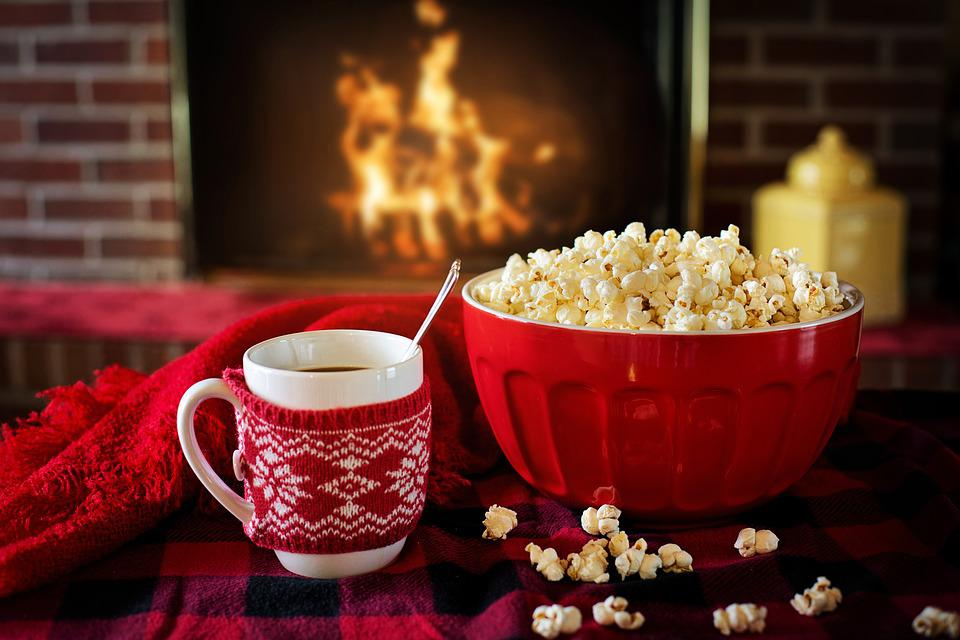 Warm And Cozy, Popcorn, Coffee, Fireplace, Cozy, Warm