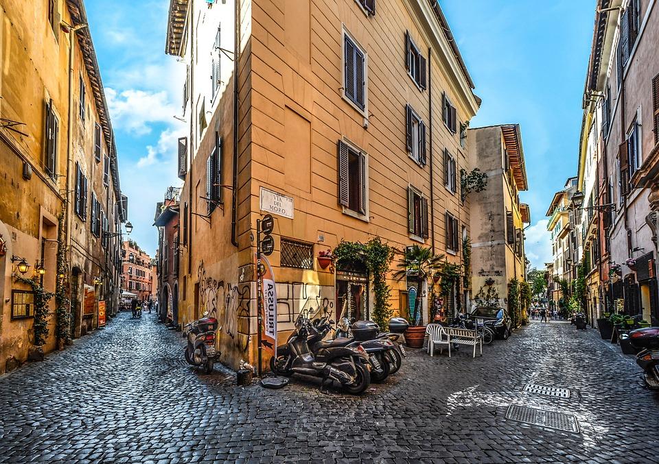 Roma, Italia, Motocicleta, Scooter, Calle, Guijarro