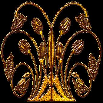 Scroll Gold, Floral, Design, Decoration