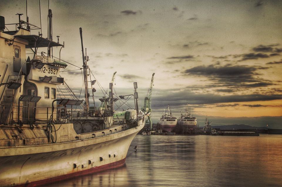 漁船, 海, 港, 景色, 風景, 船, 静岡県, 日本, 光, 空, 雲, 日本の風景, 自然