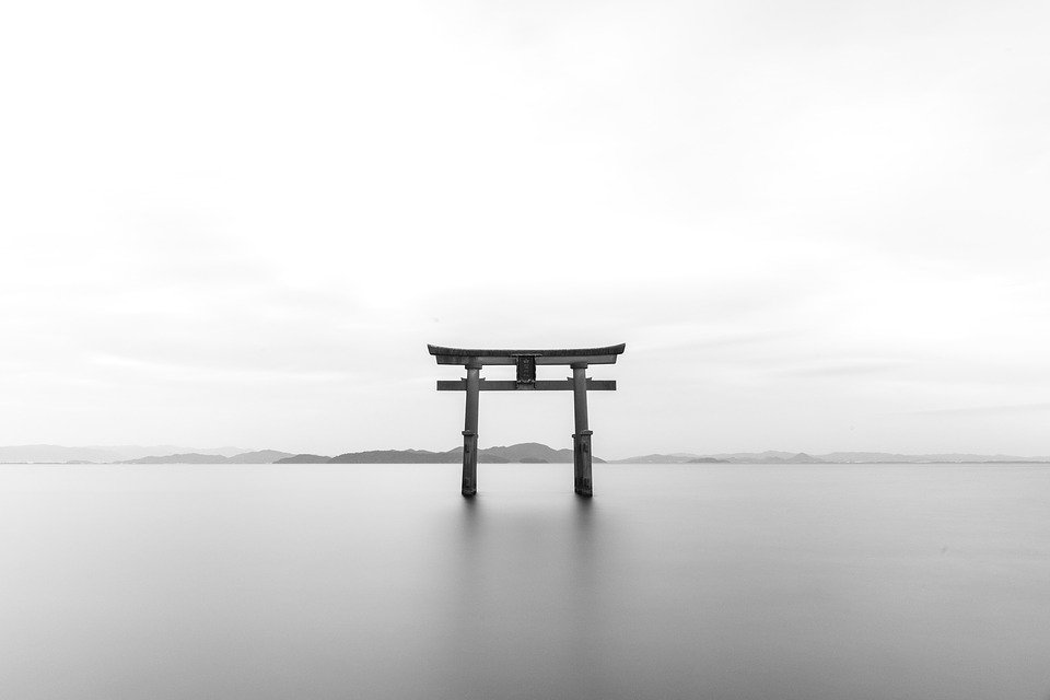 Tori, Japanese, Shrine, Torii, Black And White