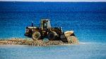 bulldozer, unload, gravel