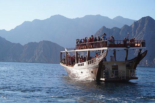 Dow, Fjiord, Boat, Sea, Water, Oman
