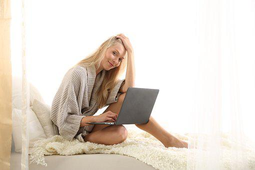 Bed, Woman, porn, Computer, Young