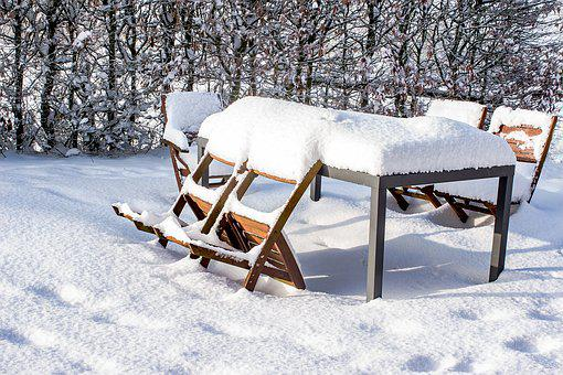 Snow, Table, Chairs, Wood Chairs