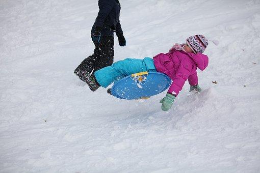 Sledding, Kids, Ju, Winter, Fun, Child