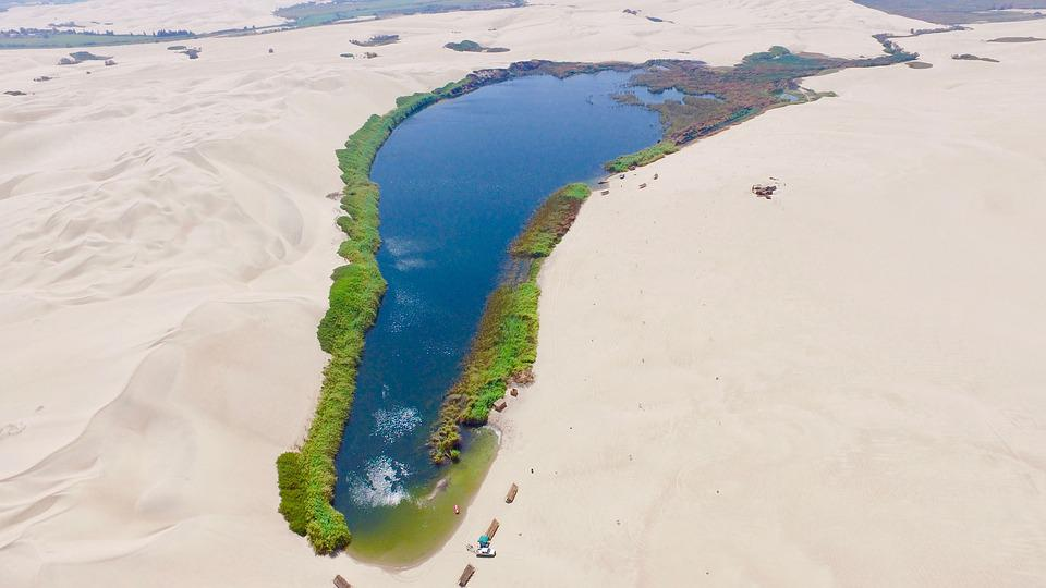 Ica, Desert, Peru, Lake, Oasis, Sand