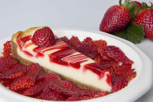 Food Cheese Cake Platter Plate Strawberry