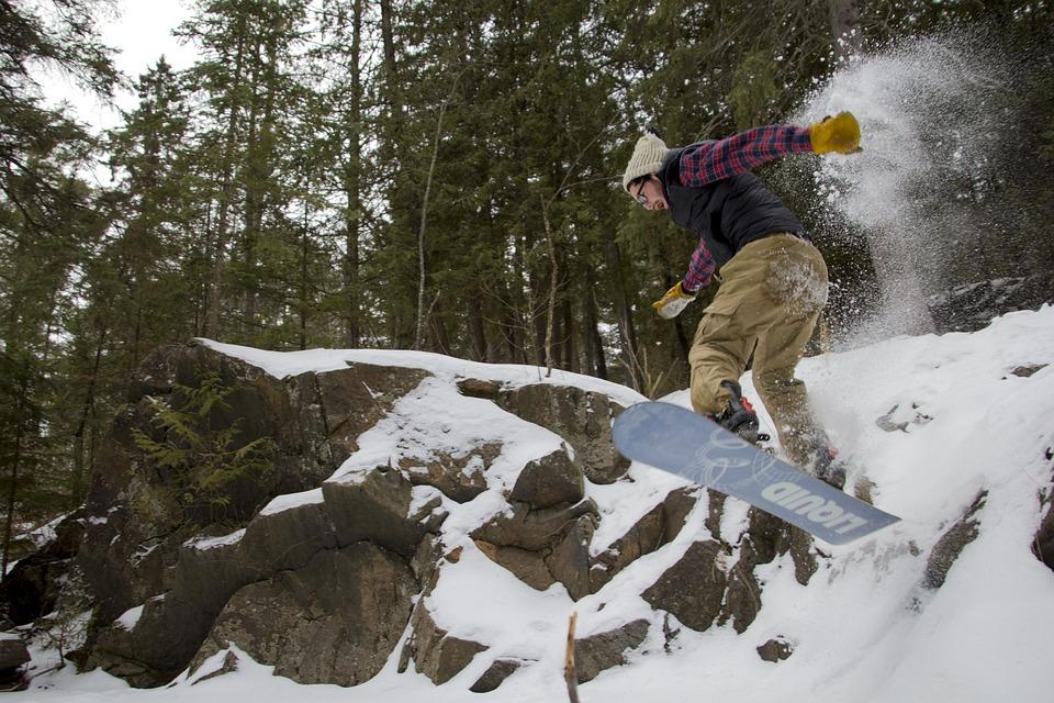 Snowboarding, Snowboard, Jump, Snow, Winter, Woods