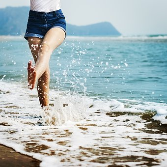 Barefoot, Splash, Waves, Beach, Coast