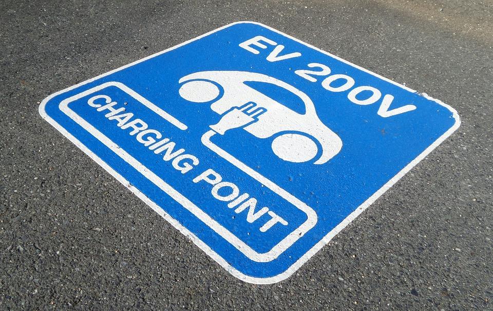 Sign, Charging, Point, Parking, Electric, Car, Ev