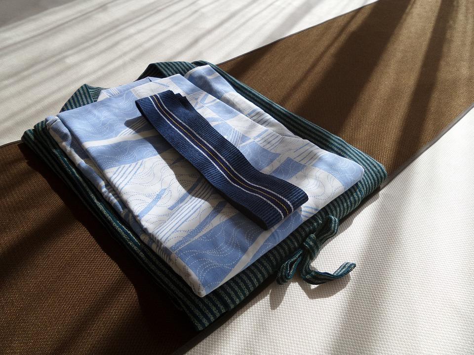 着物, 設定, ホテル, ホスピタリティー, 日本, ホステル, ベッド, 片付ける, 浴衣, ドレス, 朝