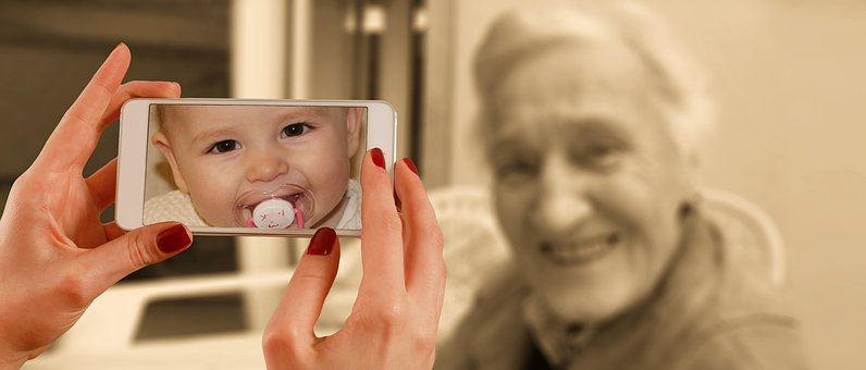 Smartphone, Face, Woman, Old, Baby