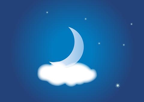 Noche, Nubosidad, Cielo, Estrella, Luna