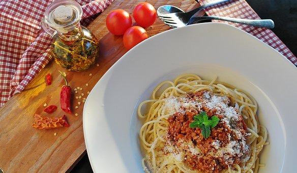スパゲッティ, 麺, ボロネーゼ, ミートソース, ミンチ肉, 肉, 食品