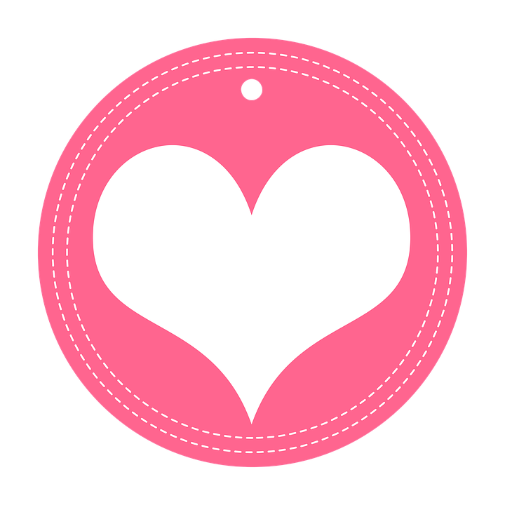 Heart sticker pink love valentine bright closeup