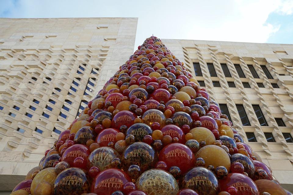 Mdina, Glass, Colorful, Ball, Valetta, Christmas, Tree