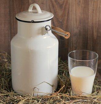 ミルク缶, ガラス, ミルク, 牛乳のガラス, ドリンク, 新鮮, おいしい