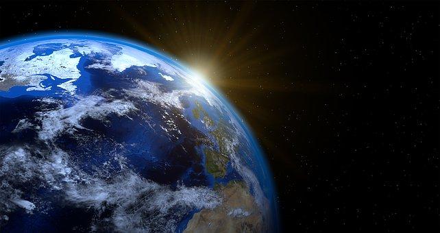 地球, 惑星, 世界, グローブ, 太陽, Aufgang Weltkugel