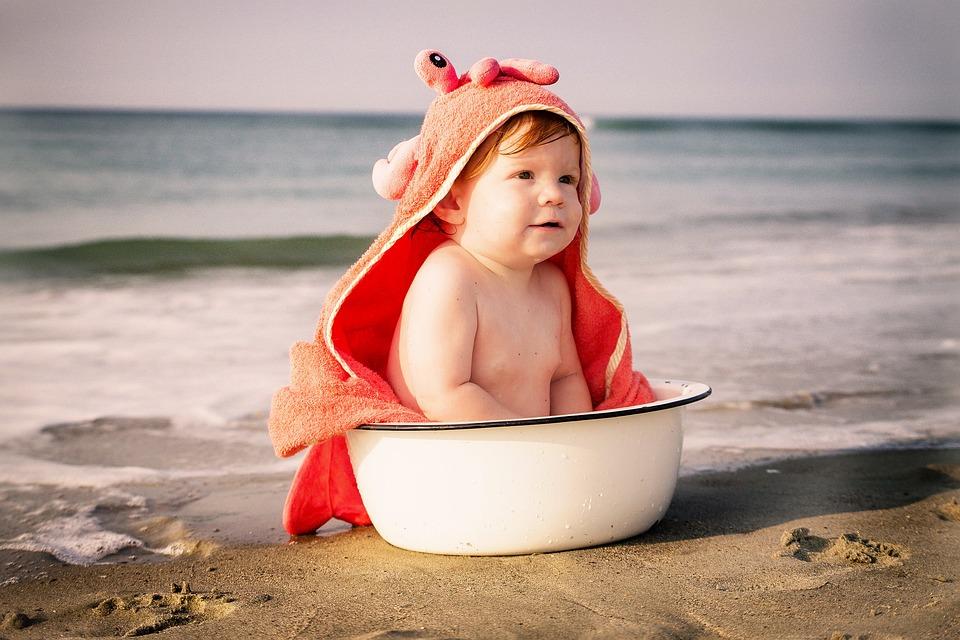Plage, Bébé, Crabe, Lavage Pot, Été, Enfant, Mer