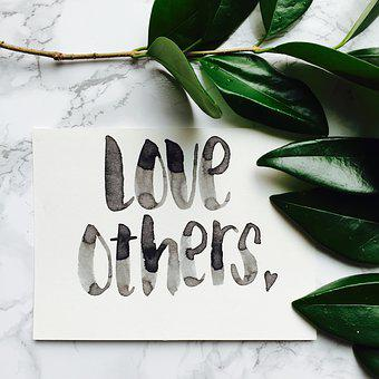 Love, Others, Green Leaves, Watercolor