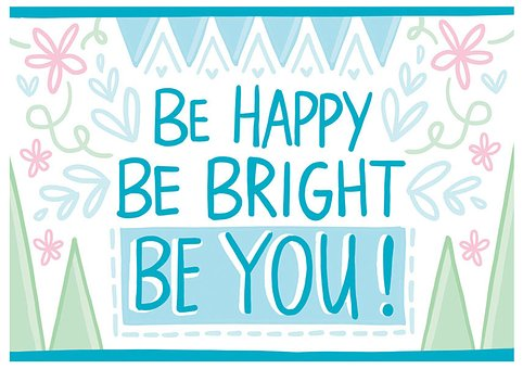 A bluish image with Be happy be bright be you for 301 inspirational and motivational quotes