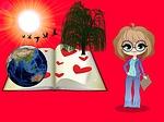 professor, open book, terrestrial globe