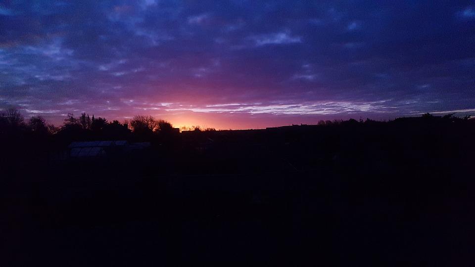 日落, 黑, 蓝色, 太阳, 剪影, 黄色, 落山的太阳, 树木, 施工, 天堂