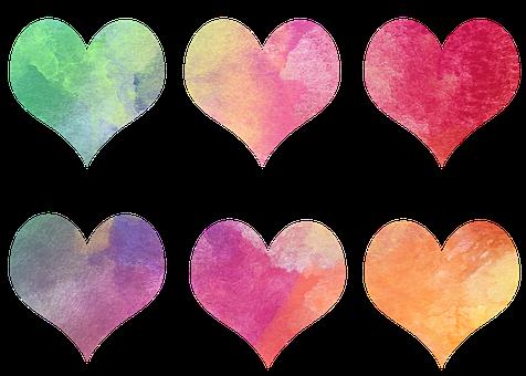 Hearts, Colorful, Watercolor, Valentine