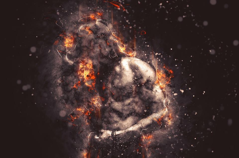 Bulb, Man, Ali, Fire, Muscular Body, Body, Anger