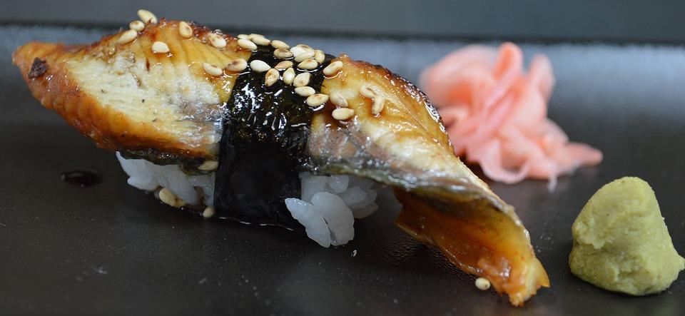 sushi anguilla cibo giapponese riso wasabi zenzero