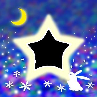 Luna Creciente, Estrella, Conejo, Flores