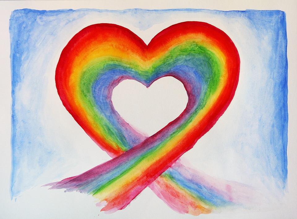 Aquarell, Malerei, Bunte, Farbe, Regenbogen, Liebe