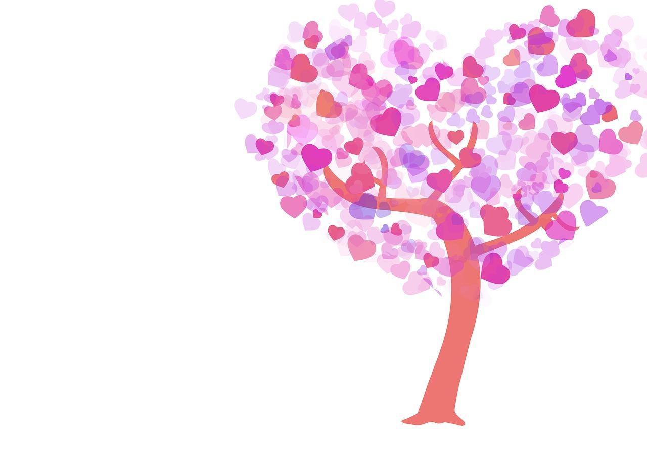 картинка дерева с сердечками над