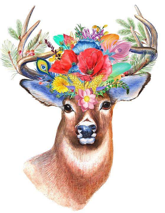 クワガタムシ, 野草, 花柄, 自由奔放に生きます, 花, 鹿, 森林, 角, ホーン, おとぎ話, 動物